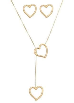 Conjunto colar gravatinha feminina coração + brinco folheado ouro 18k con002