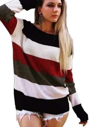 Sueter tricot brilhante listrado