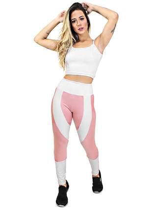 Conjunto feminino calça legging e cropped fitness academia entrega imediata