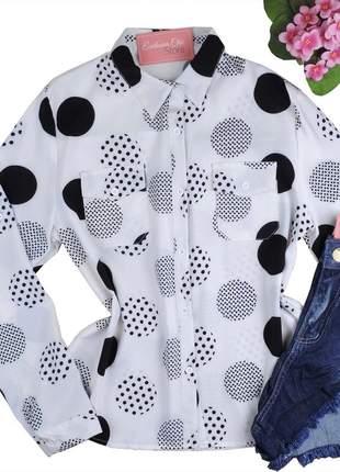 Blusa camisa social feminina estampada manga longa cs45