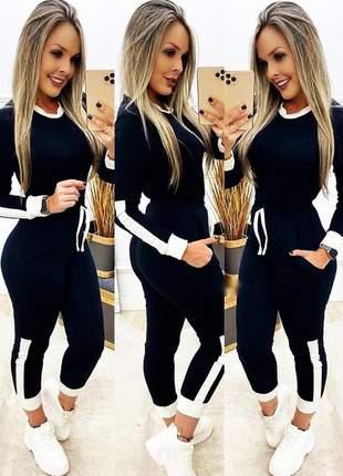 Conjunto neoprene moletinho blusa manga longa calça moletom