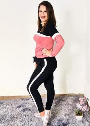 Conjunto moletom feminino inverno frio listra lateral moda feminina