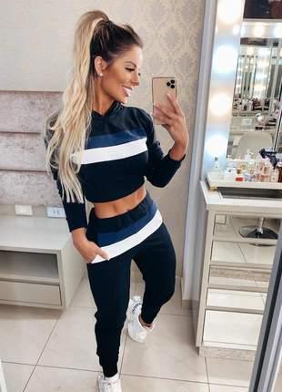 Conjunto neoprene moletinho blusa manga longa calça cinza