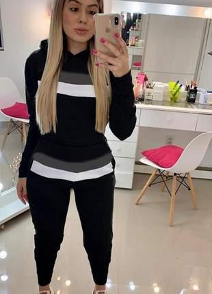Conjunto neoprene moletinho blusa manga longa calça preto com listras