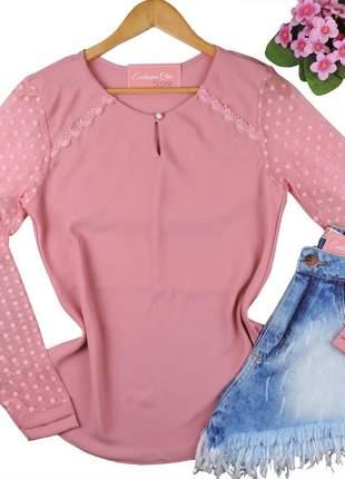 Blusa camisa social feminina tule manga longa rosa bs730