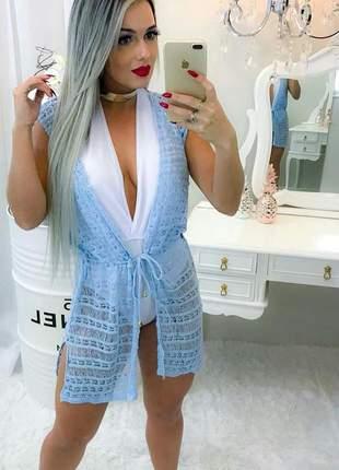 Saída de praia de trico moda tricot verão 2019 ref 127