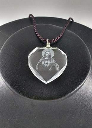 Pingente em cristal - sagrado coração de jesus