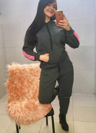 Conjunto moletom feminino capuz bolso canguru