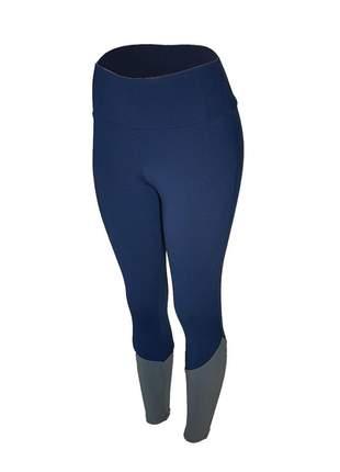 Calça legging feminina cintura alta fitness recorte canela azul marinho com cinza