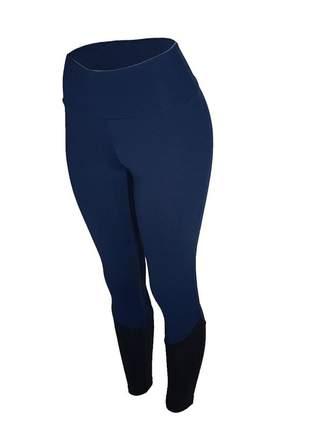 Calça legging feminina cintura alta fitness recorte canela azul marinho com preto