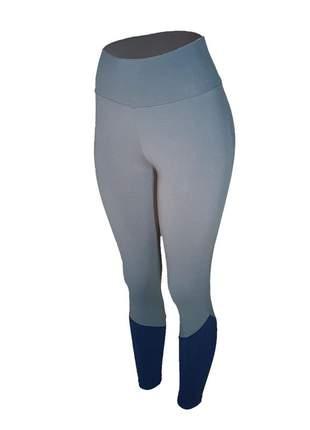 Calça legging feminina cintura alta fitness recorte canela cinza com azul marinho
