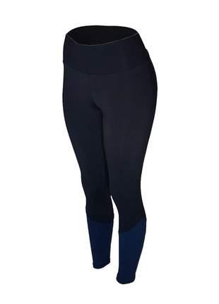 Calça legging feminina cintura alta fitness recorte canela preta com azul marinho