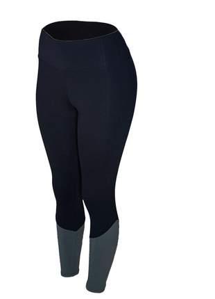 Calça legging feminina cintura alta fitness recorte canela preta com cinza