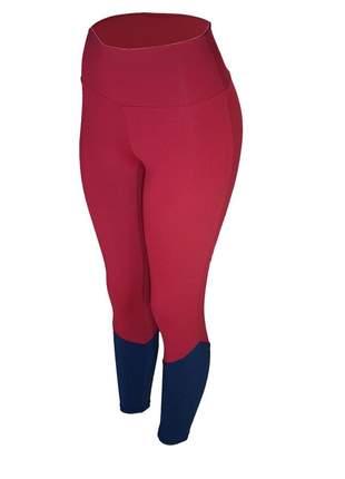 Calça legging feminina cintura alta fitness recorte canela vinho com azul marinho