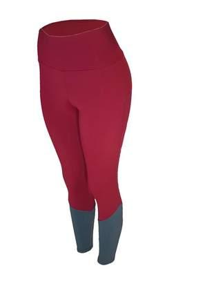 Calça legging feminina cintura alta fitness recorte canela vinho com cinza