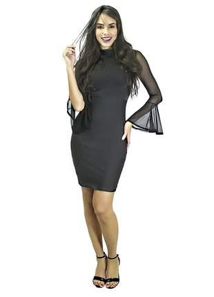 Vestido feminino tubinho com manga flare em tule entrega imediata