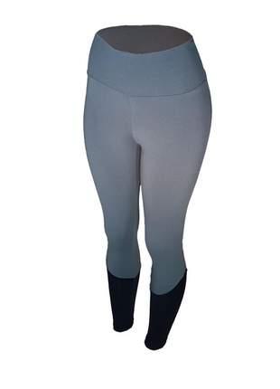 Calça legging feminina cintura alta fitness recorte canela cinza com preto