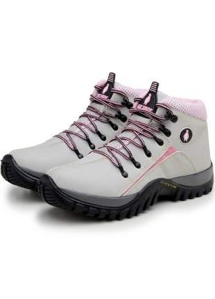 Bota adventure feminina trilha confortável 218 creme rosa