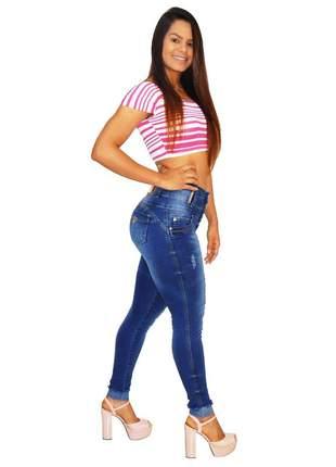 Calça jeans feminina via7 hot pants bojo removível 10327