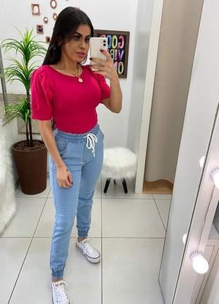 Calça jogguer jeans azul linda casual 2020