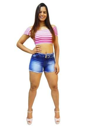 Short jeans feminino via 7 cinto tecido detalhes em rebite 10330