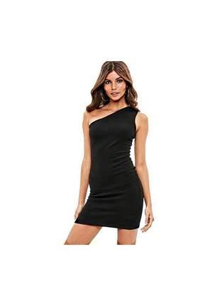 Vestido feminino ombro nú curto festa moda charmoso entrega imediata