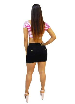 Saia jeans preta feminina via7 diversas com strass colante 10334