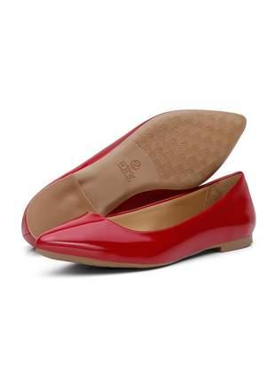 Sapatilha casual bico fino conforto 100 vermelho verniz