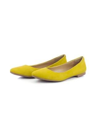 Sapatilha casual conforto em couro 100 amarelo