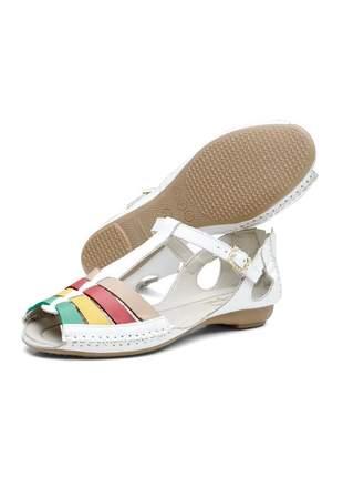 Sandalia rasteirinha casual conforto em couro 710 branco