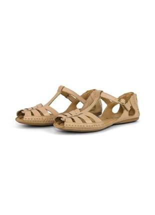 Sandalia rasteirinha casual conforto em couro 710 nude