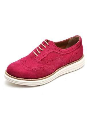 Sapato casual oxford confortável em camurça 300 fuscia