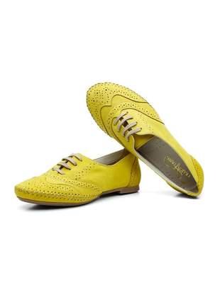Sapato oxford casual com cadarço em couro15360 amarelo