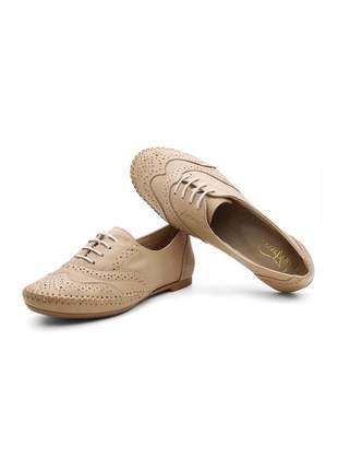 Sapato oxford casual com cadarço em couro 15360 areia
