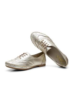 Sapato oxford casual com cadarço em couro 15360 ouro light