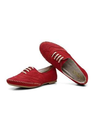 Sapato oxford casual com cadarço em couro 15360 vermelho