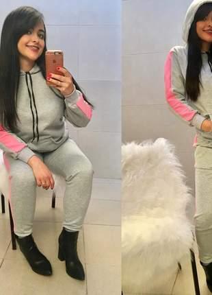 Conjunto moletom feminino flanelado grosso calça e blusa com capuz moda inverno