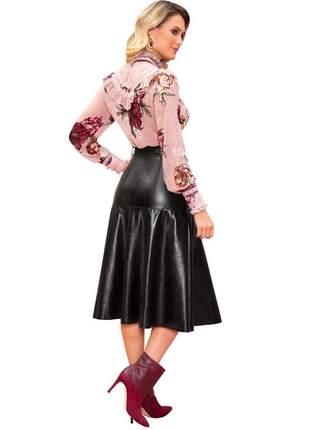 Blusa feminina crepe babados manga moda evangélica - p - marrom