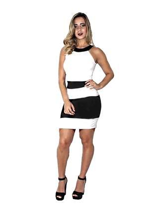 Vestido tubinho preto preto e branco charmoso moda elegante entrega imediata