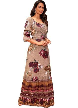 Vestido longo crepe feminino fasciniu's moda evangélica-marrom