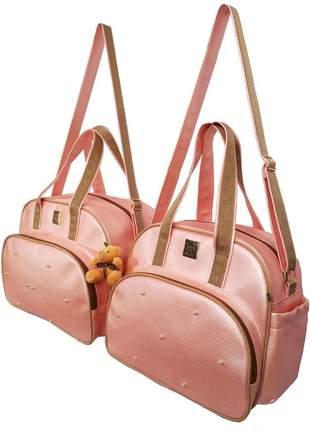 Kit bolsa mala saida maternidade menino menina miellu + trocador rose