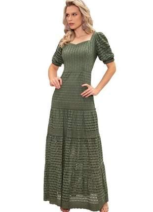 Vestido longo lese bordado fasciniu's moda evangélica