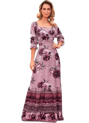 Vestido longo crepe feminino fasciniu's moda evangélica -rosê