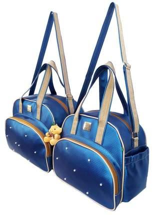 Kit bolsa mala saida maternidade menino menina miellu + trocador azul marinho