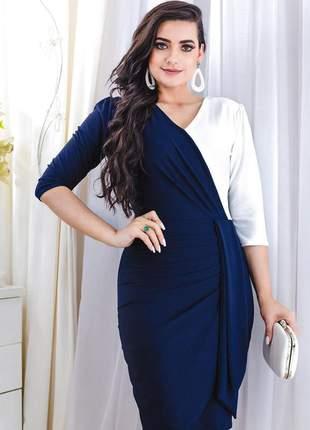 Vestido tubinho midi bicolor  lindo