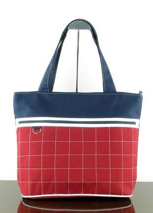 Bolsa feminina em tecido linha silver bordô vermelho e marinho