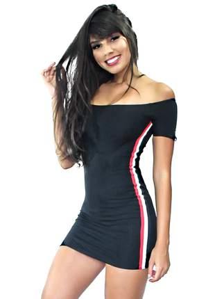 Vestido feminino sex ombro a ombro detalhe lateral canelado entrega imediata