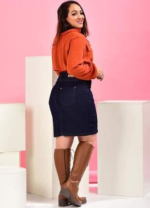 Saia jeans feminina lapis midi cintura alta moda evangélica