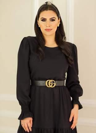 Vestido feminino midi preto manga moda evangélica