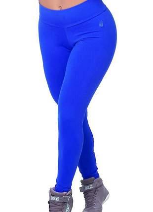 Calca legging feminina feminina suplex poliamida compressão grossa azul